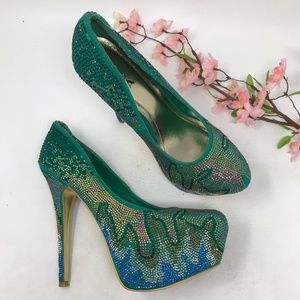 Alba Green Platform Stiletto Heels Club Size 11